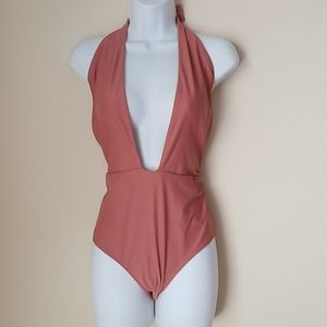 Aerie  Nude cross plunge bathing swim suit L